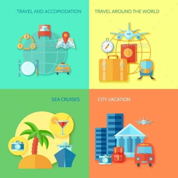 GraphicRiver Travel Flat Icon Set 10981234