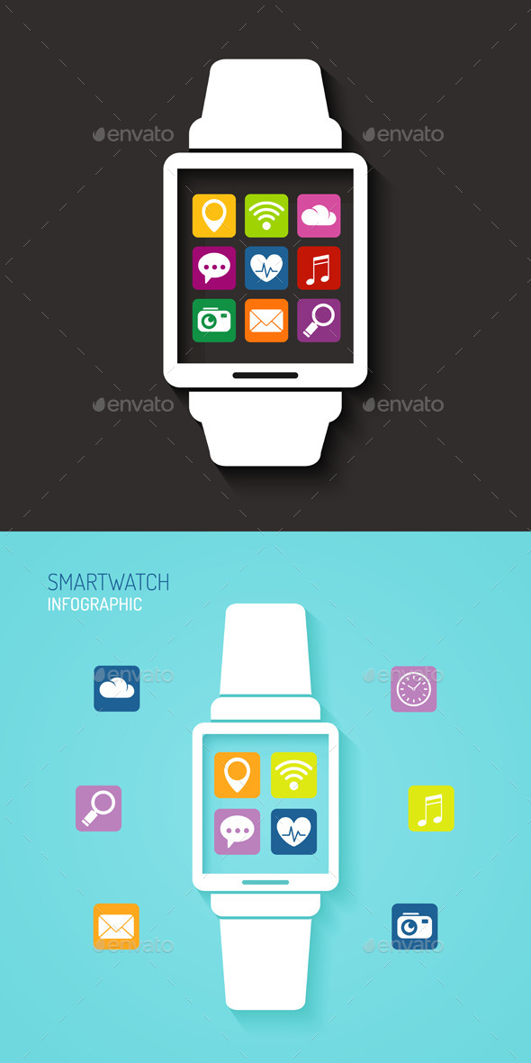 GraphicRiver Wearables Technology Device with App Icons 10981242