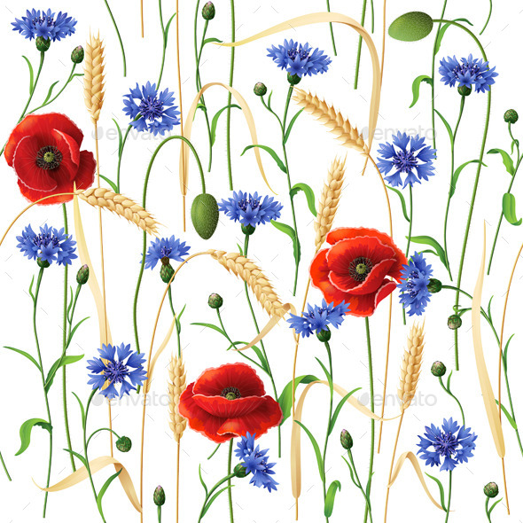 GraphicRiver Cornflowers Poppies and Wheat Ears Pattern 10981384