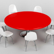 Red round table and white chairs - PhotoDune Item for Sale