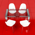 Glass table and white chairs - PhotoDune Item for Sale