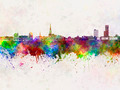 Leeuwarden skyline in watercolor background - PhotoDune Item for Sale