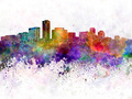 Long Beach skyline in watercolor background - PhotoDune Item for Sale
