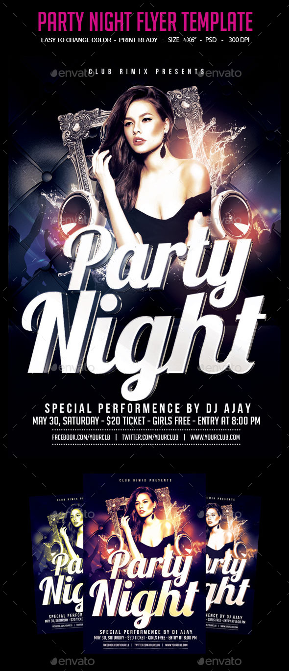 GraphicRiver Party Night Flyer Template 10981758