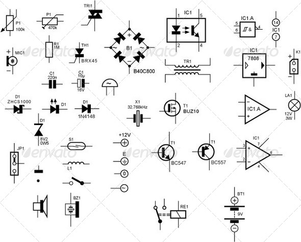 GraphicRiver Schematic Symbols for Electronic Components 136223