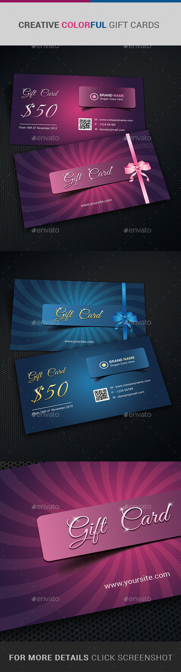 GraphicRiver CREATIVE Colorful Gift Cards 10982238