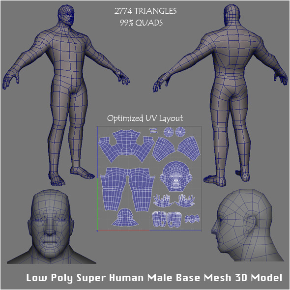 Low Poly Super Human Male Base Mesh 3D Model - 3DOcean Item for Sale