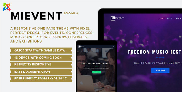 ThemeForest Mievent Multipurpose Joomla Event & Music 10982942