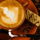 cup of cappuccino, milk-chocolate wafer and coffee beans - PhotoDune Item for Sale