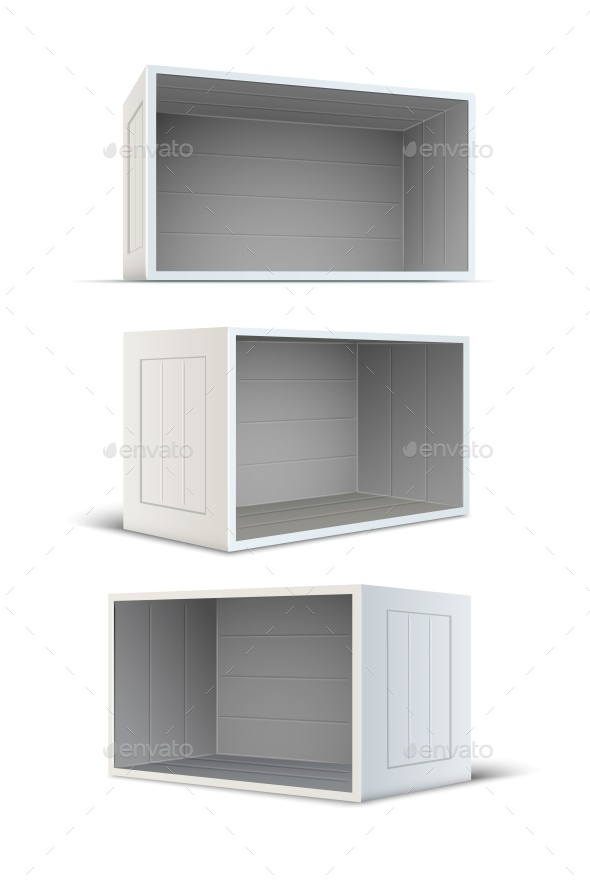 GraphicRiver Set of White Empty Wooden Boxes 10983196