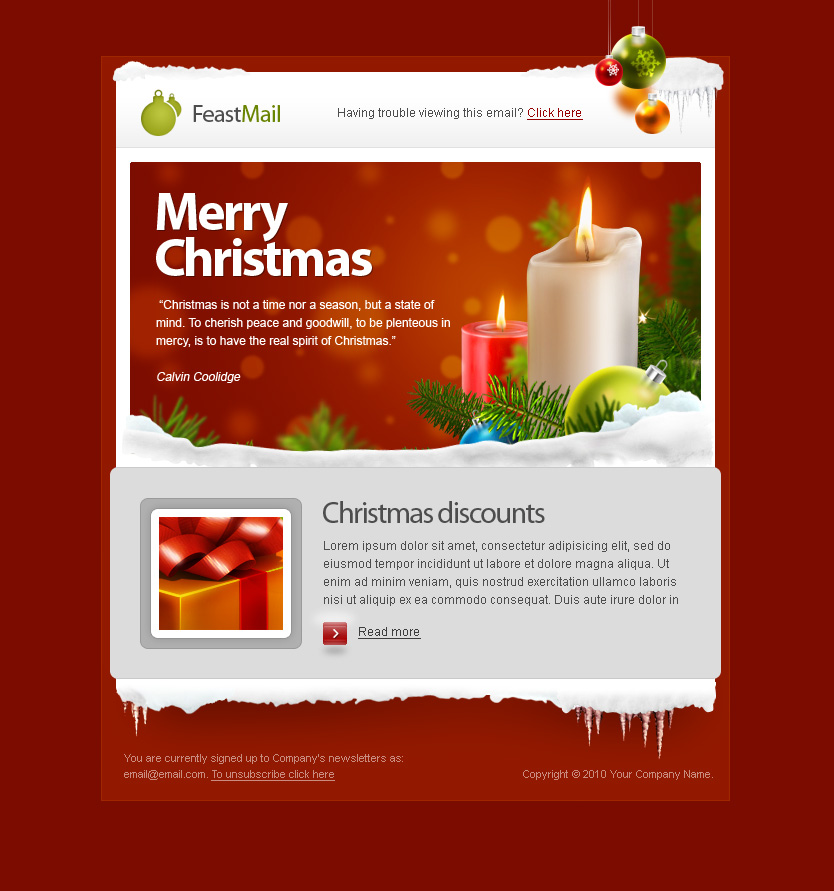 feastmail christmas and corporate email template by olegnax themeforest. Black Bedroom Furniture Sets. Home Design Ideas
