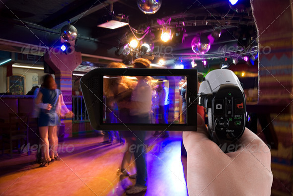 club party on the camera - Stock Photo - Images