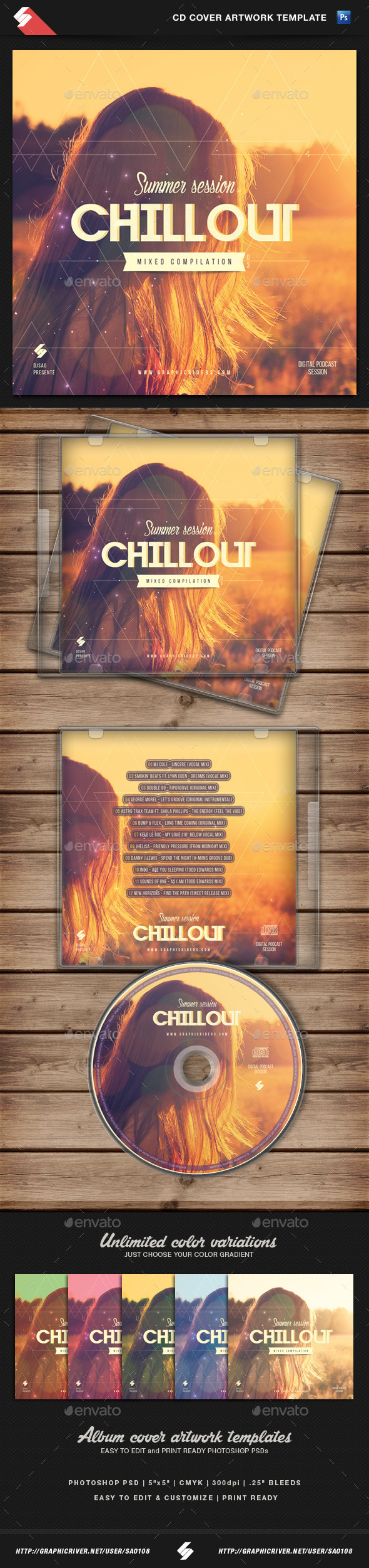 GraphicRiver Summer Chillout CD Cover Artwork Template 10983633