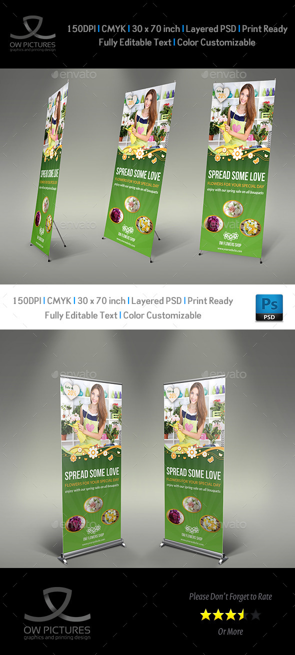 GraphicRiver Flower Shop Signage Roll Up Template 10983840
