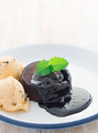 Ice cream, chocolate cake with chocolate sauce on white plate - PhotoDune Item for Sale