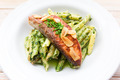 pasta penne with sauce of arugula with grilled salmon - PhotoDune Item for Sale