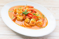 Spicy Thai food, red curry with shrimp on wood table - PhotoDune Item for Sale