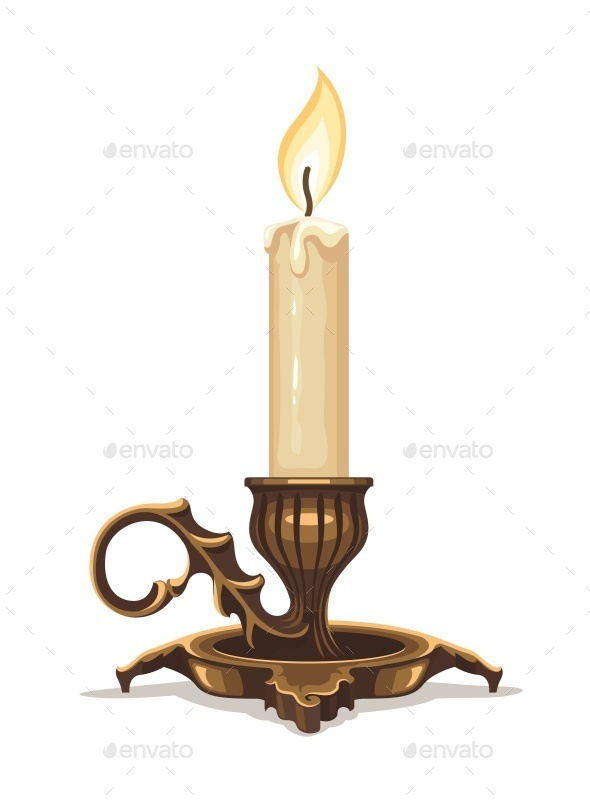 GraphicRiver Burning Candle in Bronze Candlestick 10984000