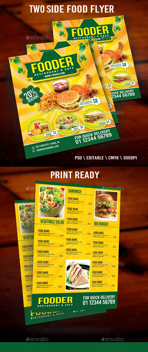 GraphicRiver Two Side Food Flyer 10984127