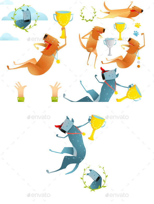GraphicRiver Winning Happy Dog Contest with Cups and Medals 10984622