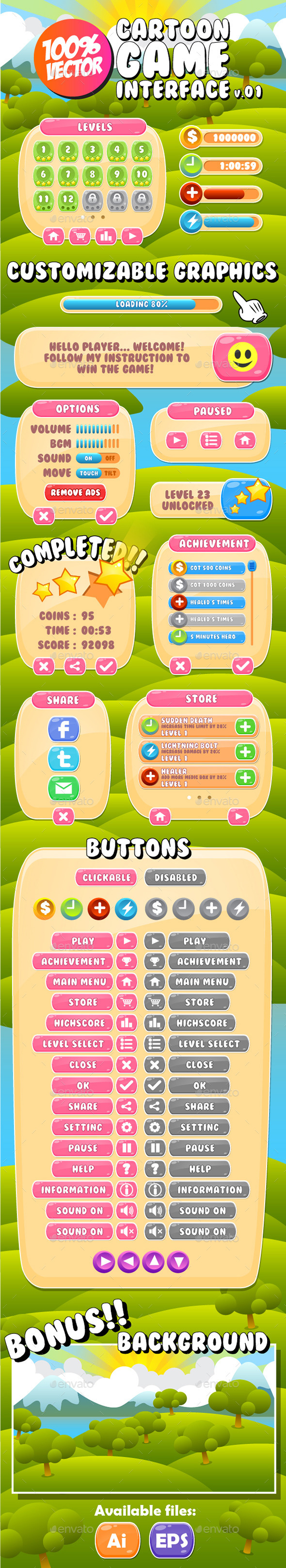 GraphicRiver Cartoon GUI v.1 10984629