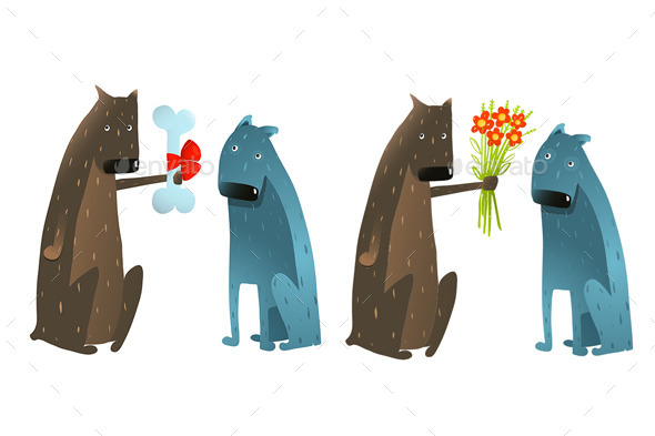 GraphicRiver Dog in Love Presenting Flowers to Friend 10984630
