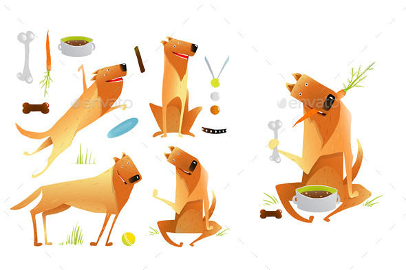 GraphicRiver Dogs Jumping Playing with Ball and Eating Set 10984678