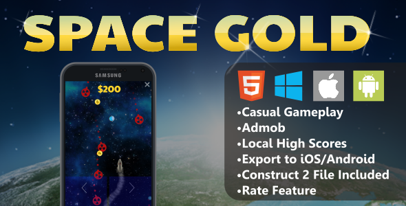CodeCanyon Space Gold HTML5 Mobile Game 10984683