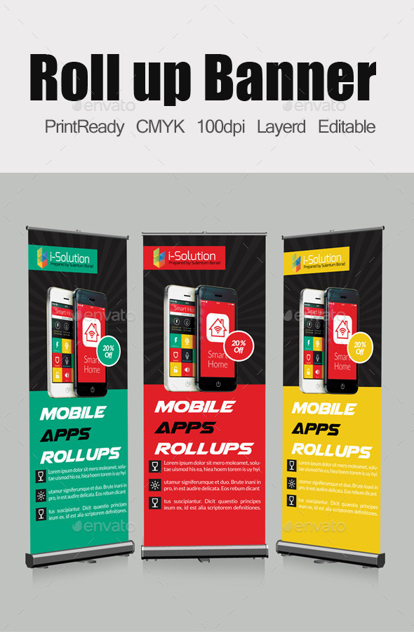 GraphicRiver Mobile App Roll Up Banners Template 10984686