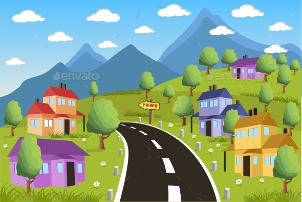 GraphicRiver Rural Landscape with Small Town 10984723