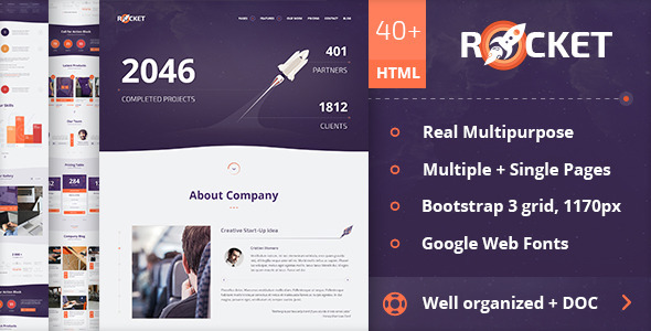 ThemeForest Rocket Creative Multipurpose HTML Template 10935173