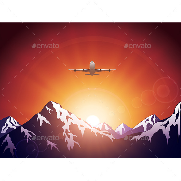 GraphicRiver Plane in Mountains 10985243