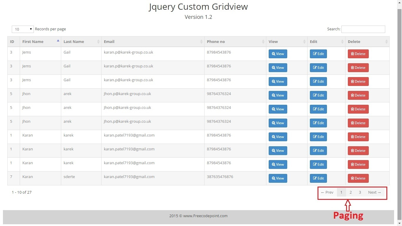 Jquery gridview custom control by karanpatel7193 codecanyon for Bootstrap popover custom template