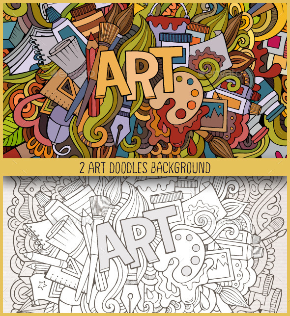GraphicRiver 2 Art Doodles Backgrounds 10985551
