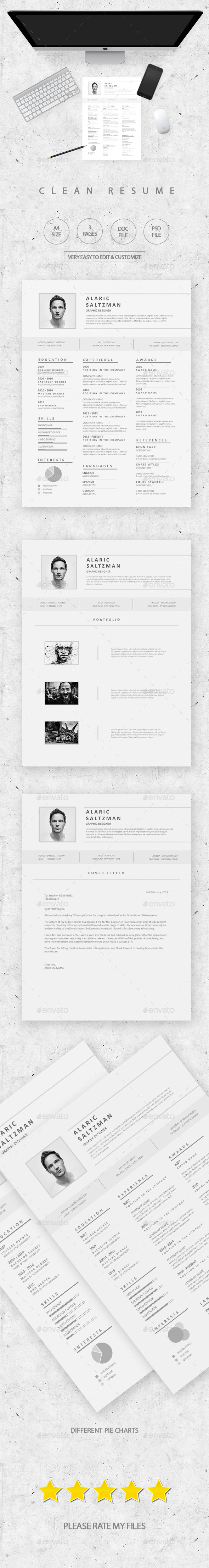 GraphicRiver Clean & Simple Resume 10856589