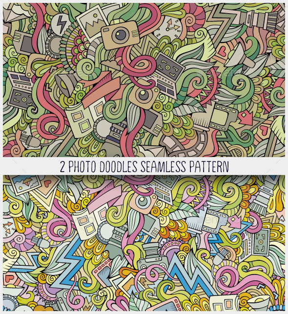 GraphicRiver 2 Photography Doodles Seamless Patterns 10986313