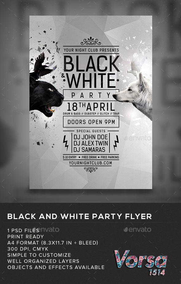 GraphicRiver Black & White Party Flyer 10986743