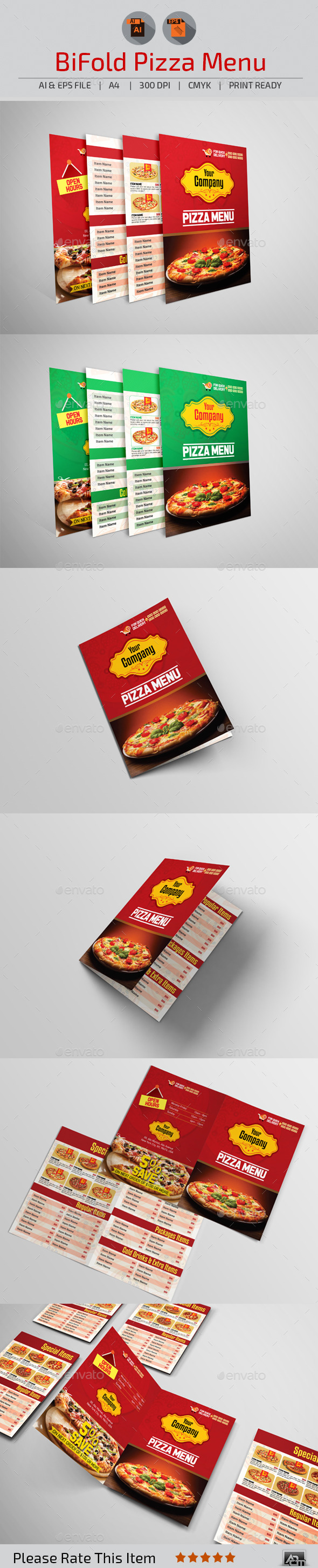 GraphicRiver Bi-Fold Pizza Menu 10935536