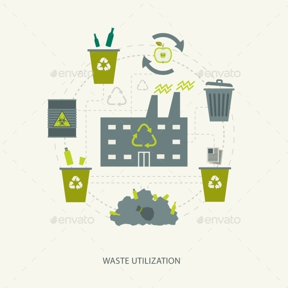 GraphicRiver Recycling Garbage and Waste Concept 10986945