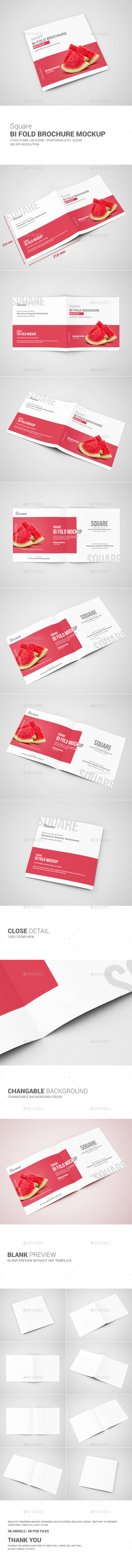 GraphicRiver Square Bi-Fold Brochure Mock-Up 10987213
