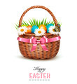 Holiday background with basket full of Easter eggs. - PhotoDune Item for Sale