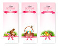 Happy Easter banners. Colorful Easter eggs and green grass.  - PhotoDune Item for Sale