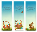 Three banners with Easter backgrounds. Eggs in baskets and a chocolate - PhotoDune Item for Sale