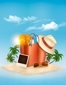 Vacation concept. Palm tree, photos and a bag full of beach clothes. - PhotoDune Item for Sale