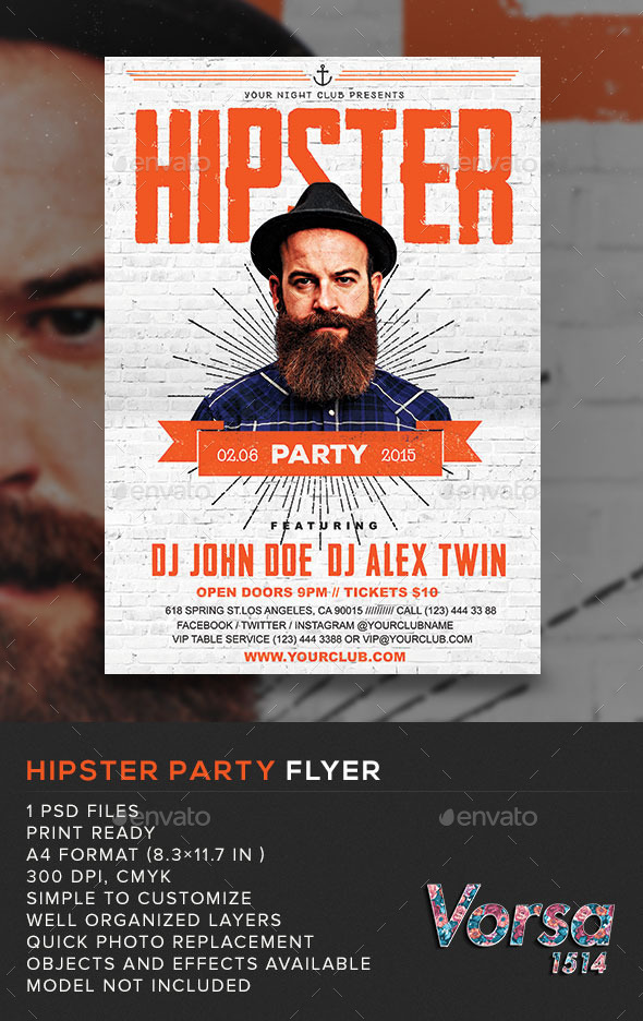 GraphicRiver Hipster Party Flyer 10987464