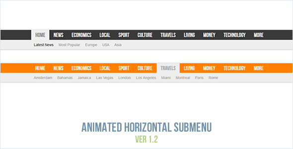 Animasi Horizontal Submenu - CodeCanyon Barang Dijual