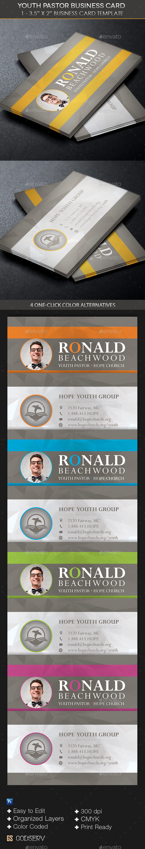 GraphicRiver Youth Pastor Business Card Template 10988008