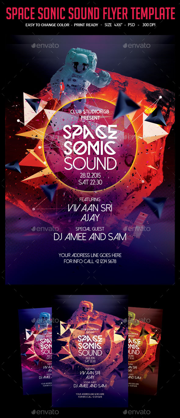 GraphicRiver Space Sonic Sound Flyer Template 10988047