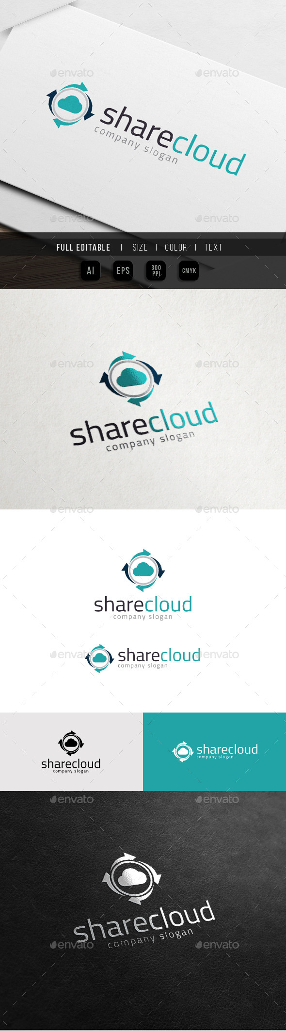 GraphicRiver Share Cloud Data Hosting Logo 10988052