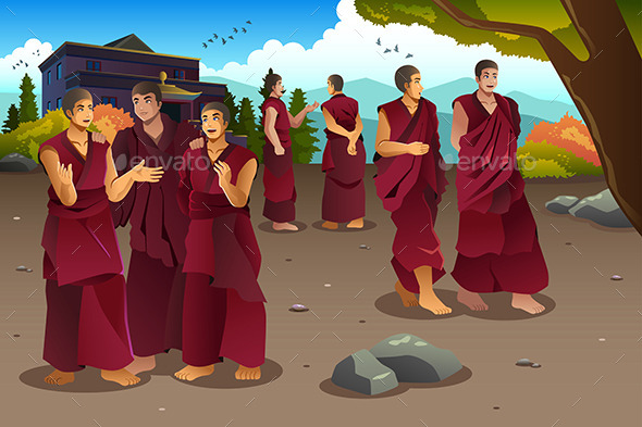 GraphicRiver Buddhist Monks in Tibet Temples 10988217